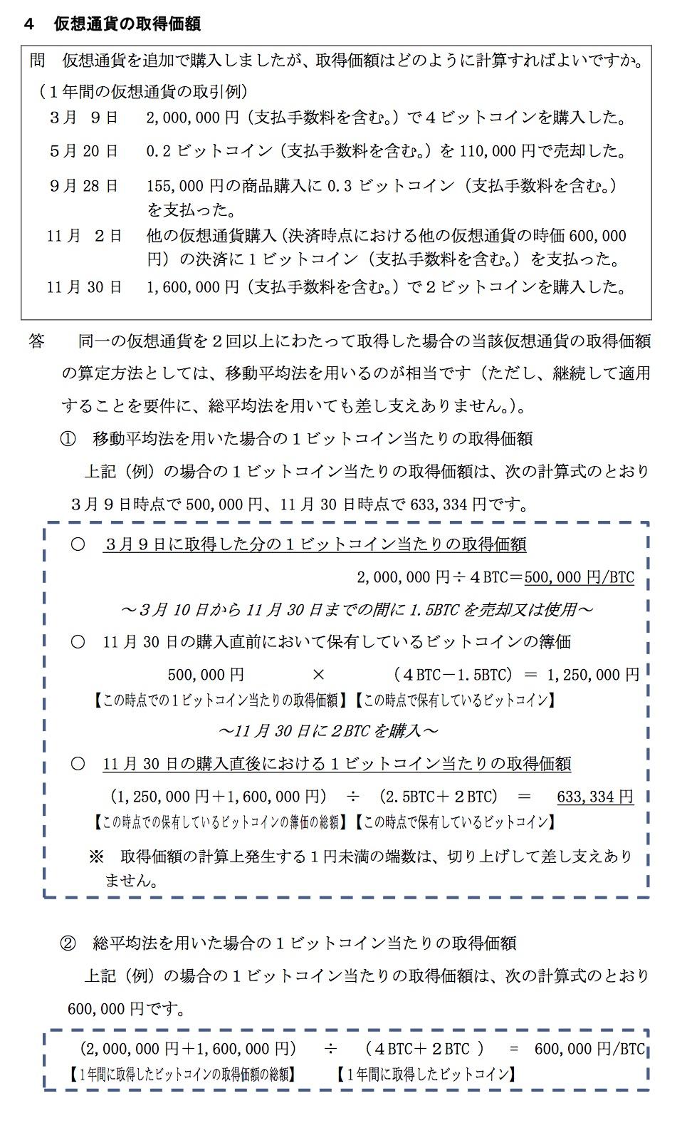 仮想通貨取得価額 国税庁タックスアンサー